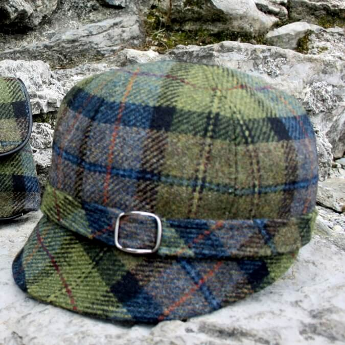 772-2 Newsboy Made in Ireland Green Plaid Ladies Newsboy Hat One size